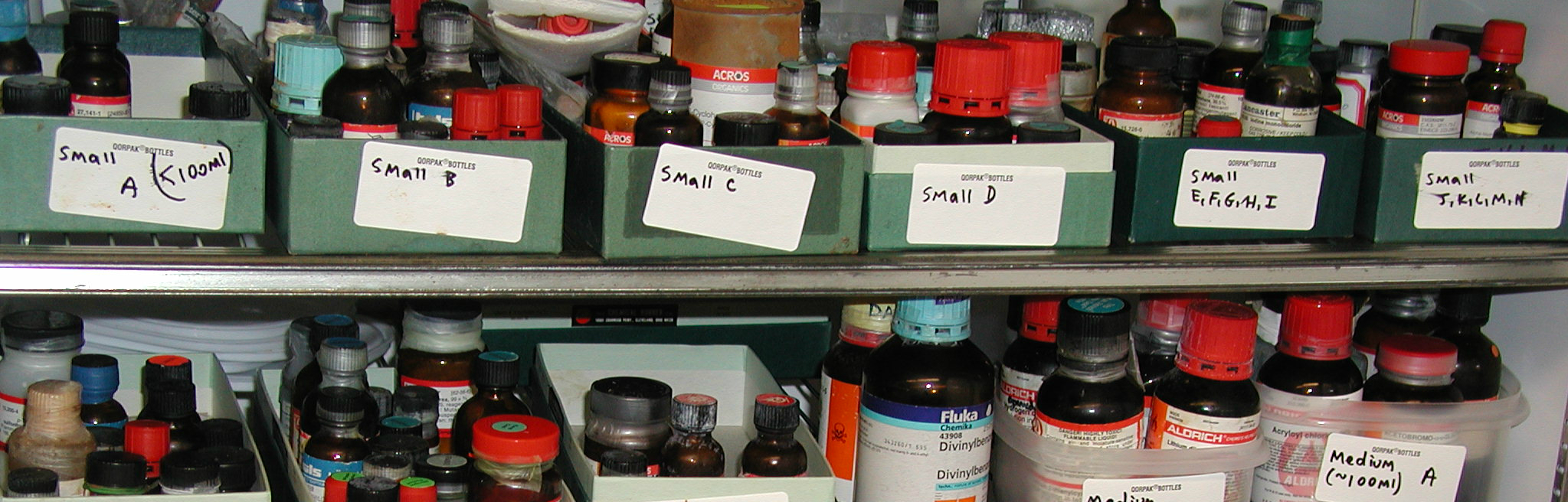 chemicals stored in a refrigerator